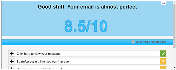 Get your email score using Spammy.