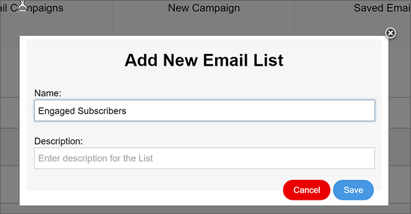 new email list modal